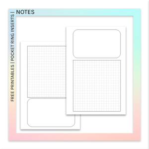 FREE PRINTABLES | Pocket Ring Planner Inserts | NOTES