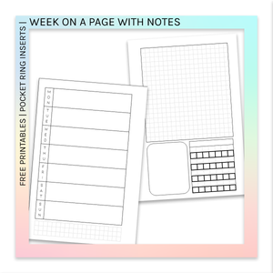 FREE PRINTABLES | Pocket Ring Planner Inserts | Week on a Page with Notes