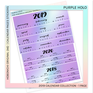 HOBONICHI ORIGINAL (A6) | CALENDAR PAGES JAPANESE VERSION | Purple Holo 2019