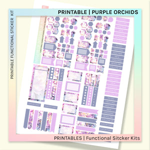 PRINTABLE | FUNCTIONAL STICKER KITS | Purple Orchids