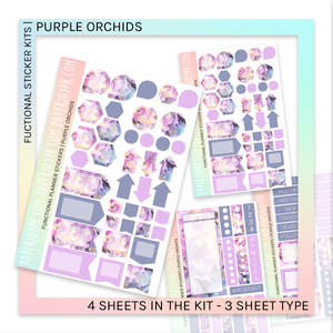 FUNCTIONAL STICKER KITS | Purple Orchids