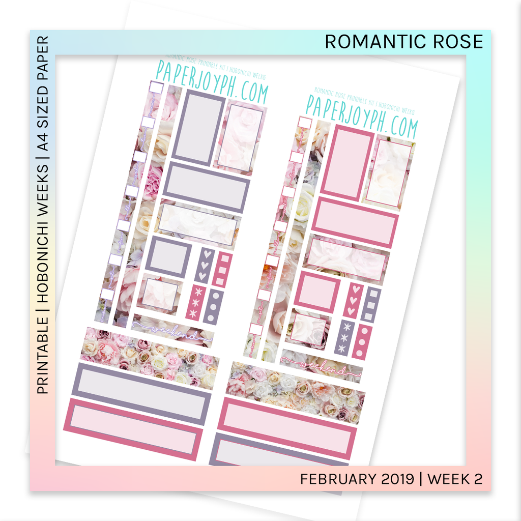 PRINTABLE | HOBONICHI WEEKS | Romantic Rose A4 size paper