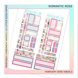 PRINTABLE | HOBONICHI WEEKS | Romantic Rose U.S. LETTER size paper