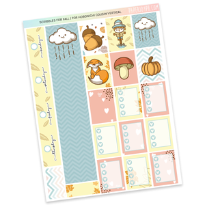 HOBONICHI COUSIN | VERTICAL STICKER KIT | Scribbles for Fall
