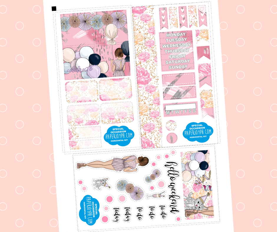 Printable Personal Planner | Horizontal Sticker Kit | SPECIAL OCCASION CAT