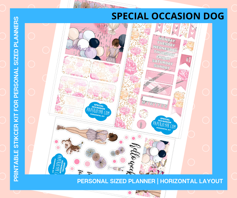 Printable Personal Planner | Horizontal Sticker Kit | SPECIAL OCCASION DOG