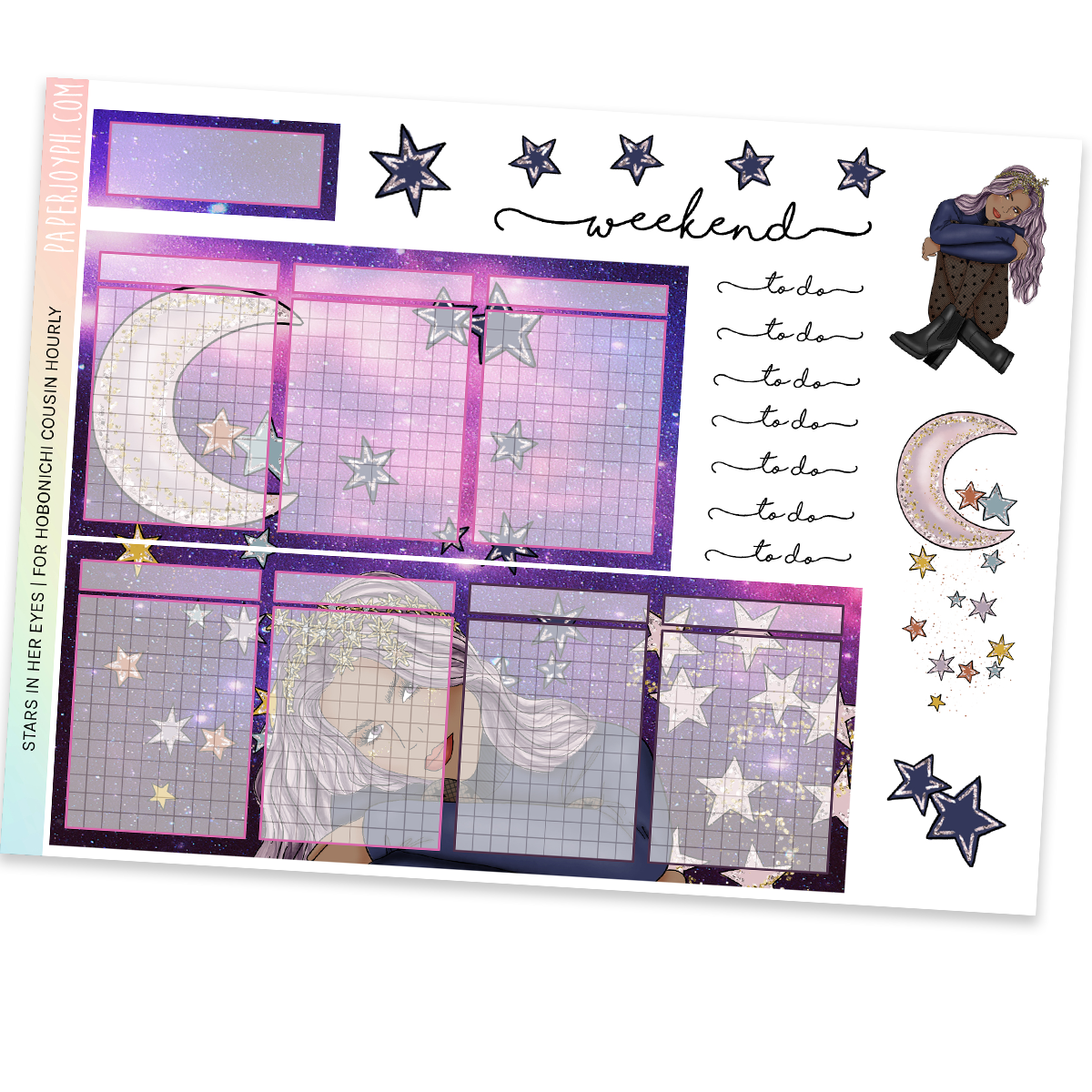 HOBONICHI COUSIN | HOURLY STICKER KIT | Stars in her Eyes