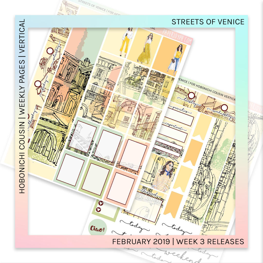 HOBONICHI COUSIN | VERTICAL STICKER KIT | Streets of Venice