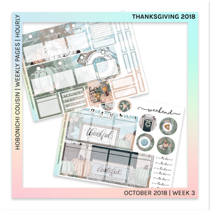 HOBONICHI COUSIN | HOURLY STICKER KIT | Thanksgiving 2018