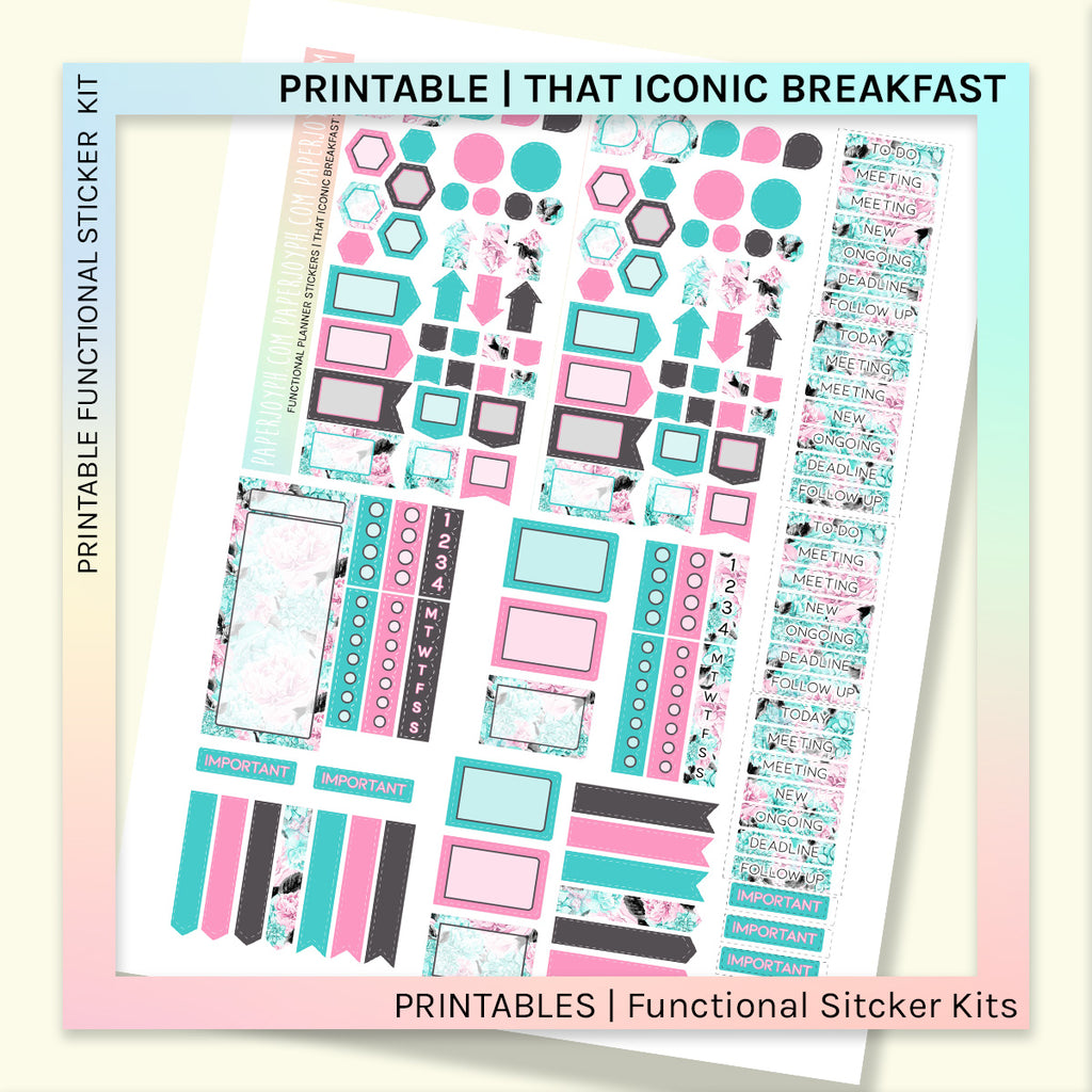PRINTABLE | FUNCTIONAL STICKER KITS | That Iconic Breakfast