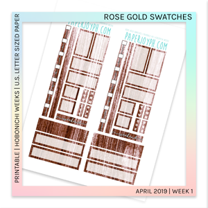 PRINTABLE | HOBONICHI WEEKS | Rose Gold Swatches U.S. LETTER size paper
