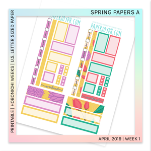 PRINTABLE | HOBONICHI WEEKS | Spring Papers A U.S. LETTER size paper