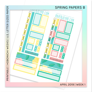 image relating to Printable Letter Papers titled PRINTABLE HOBONICHI Months Spring Papers B U.S. LETTER sizing paper