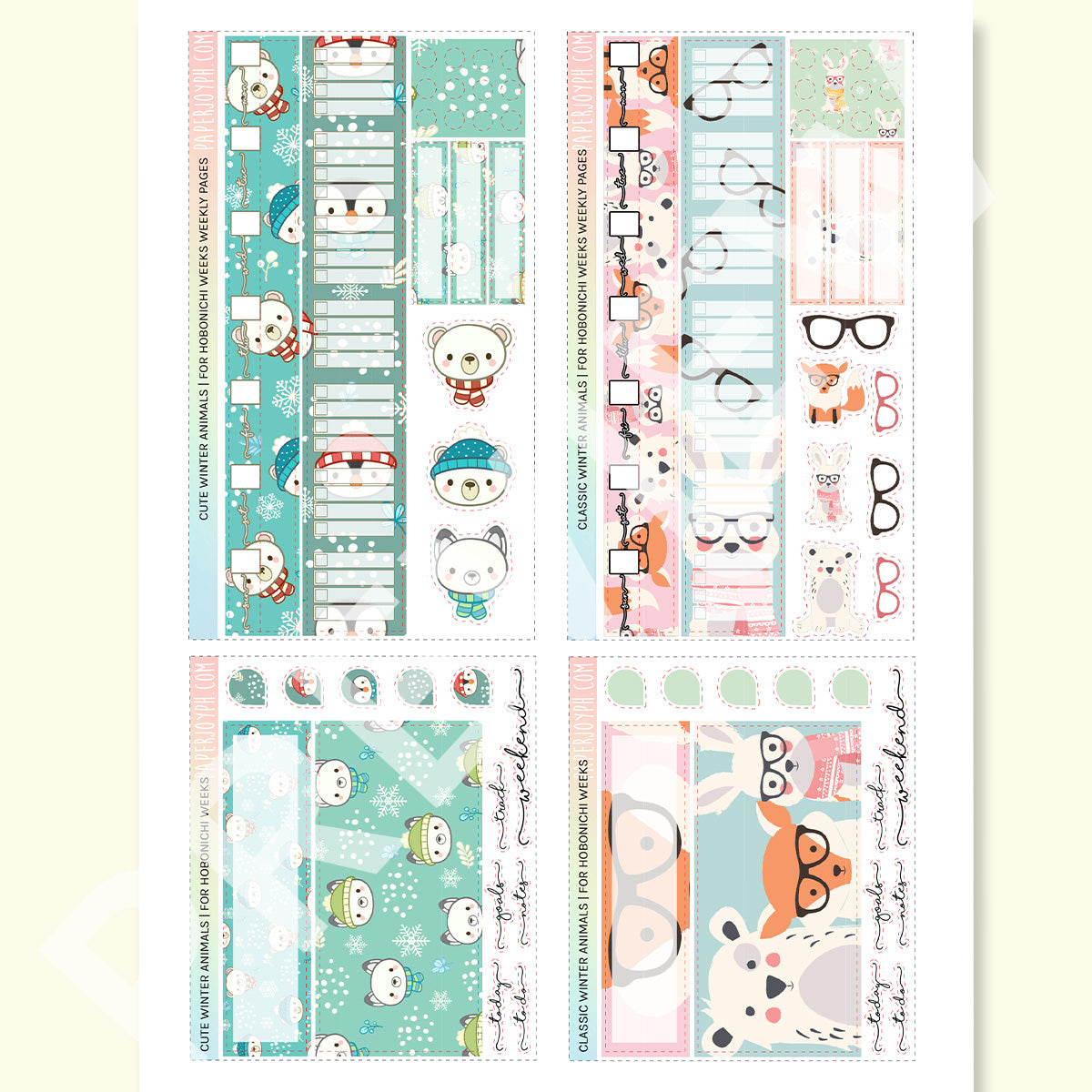 PRINTABLES | HOBONICHI WEEKS | Winter Animals Set