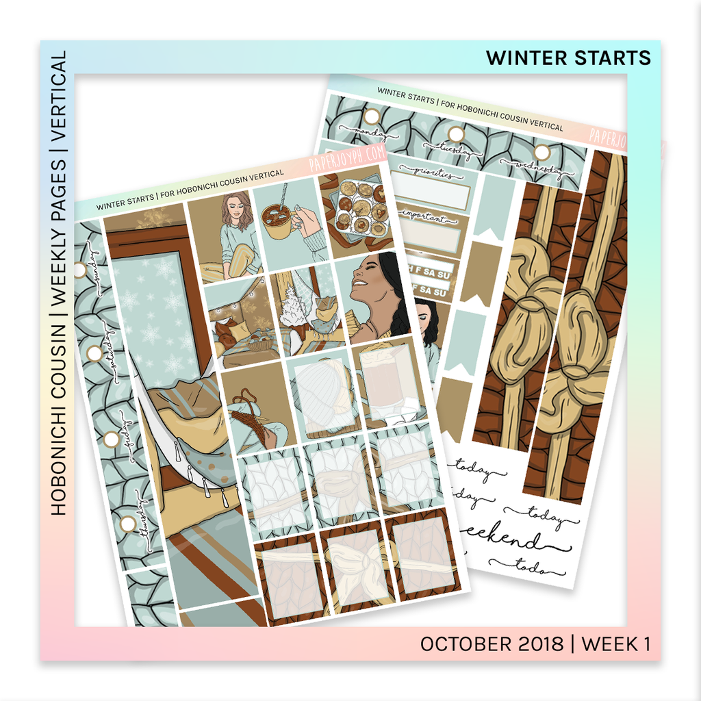 HOBONICHI COUSIN | VERTICAL STICKER KIT | Winter Starts