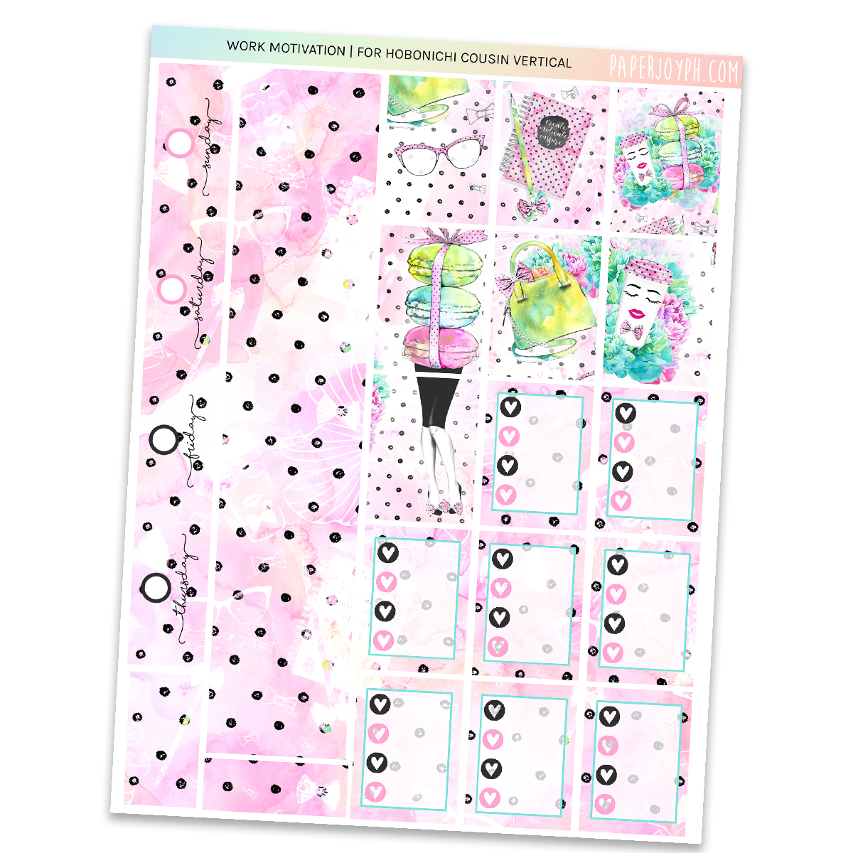 HOBONICHI COUSIN | VERTICAL STICKER KIT | Work Motivation