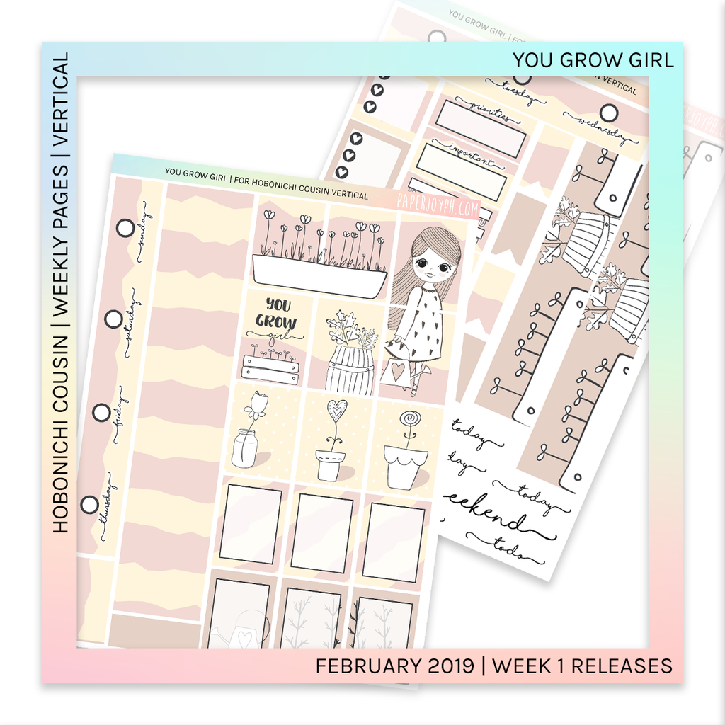 HOBONICHI COUSIN | VERTICAL STICKER KIT | You Grow Girl
