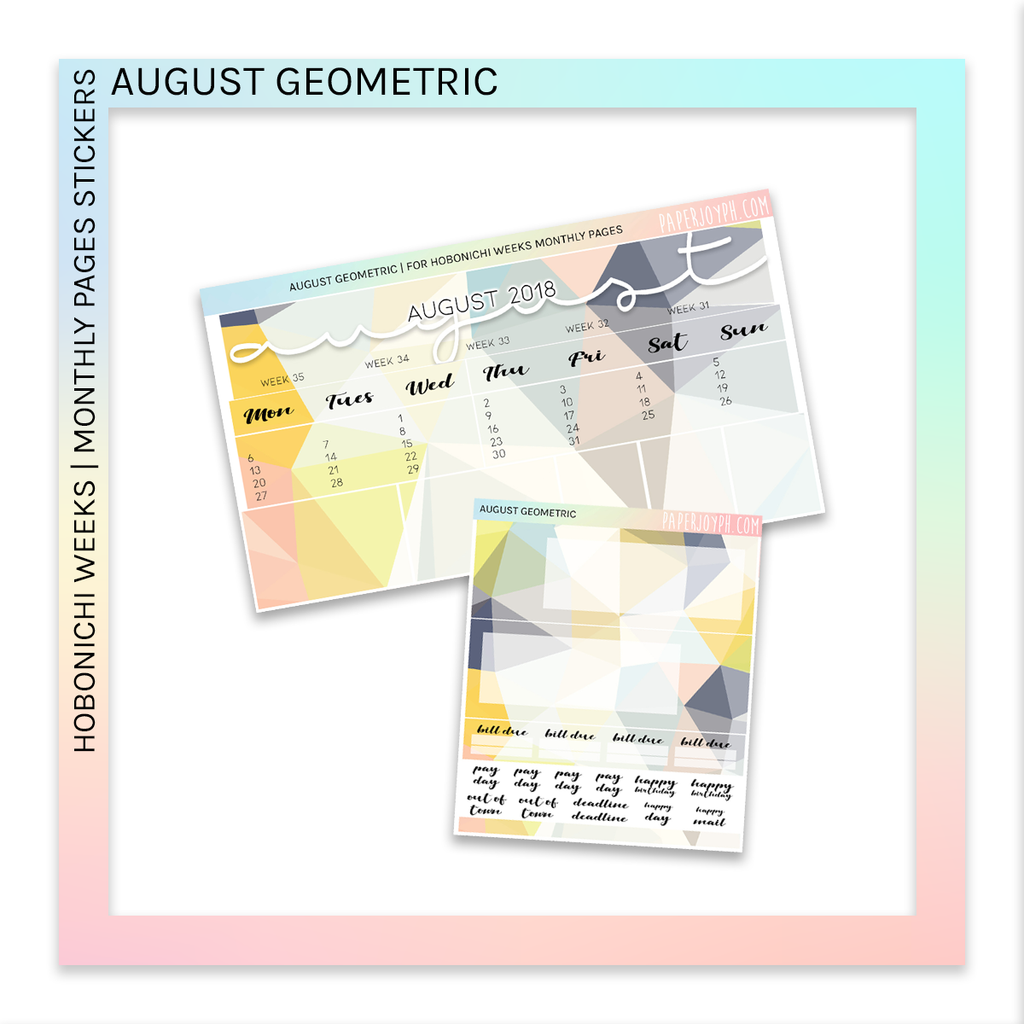 HOBONICHI WEEKS | MONTHLY PAGES | August Geometric