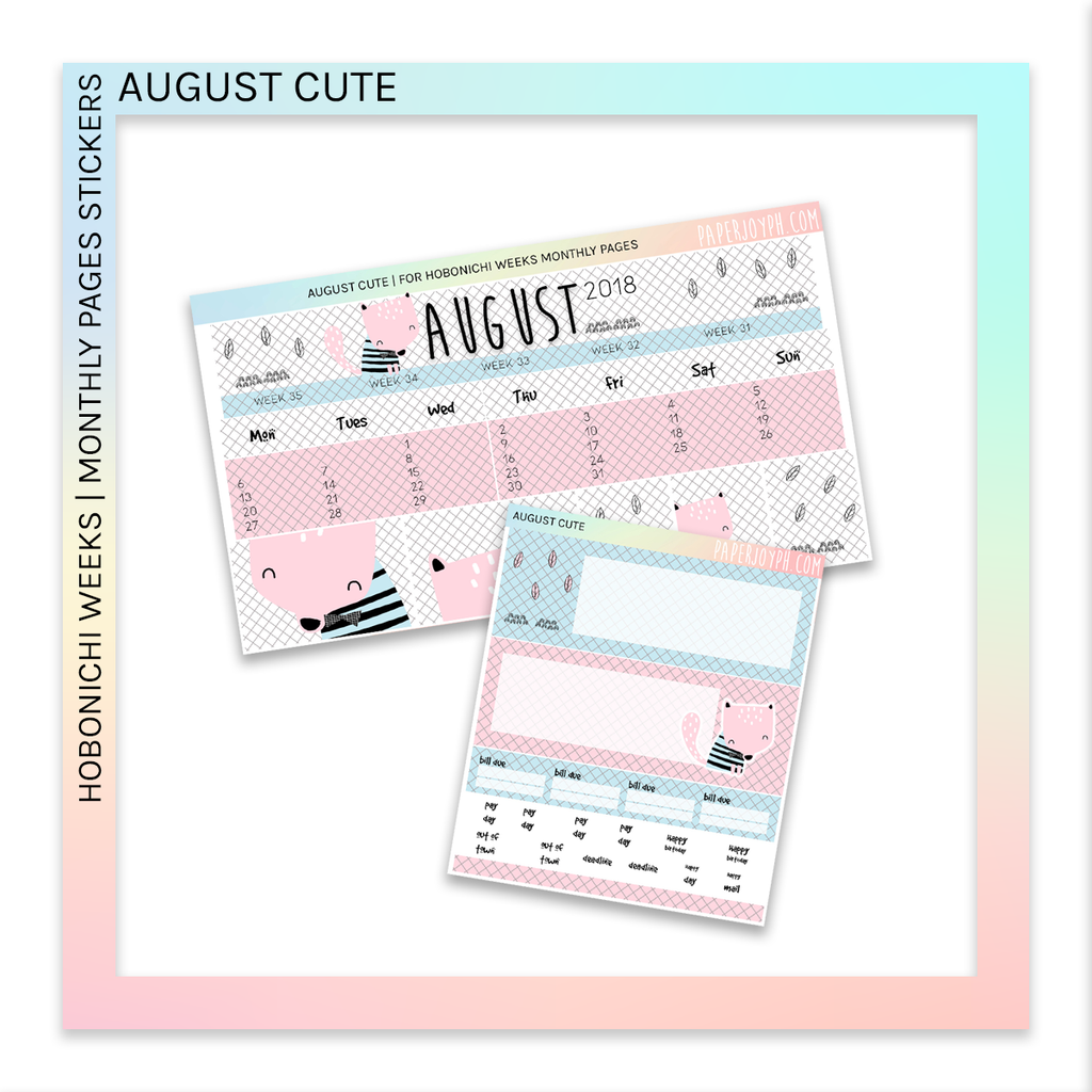 HOBONICHI WEEKS | MONTHLY PAGES | August Cute