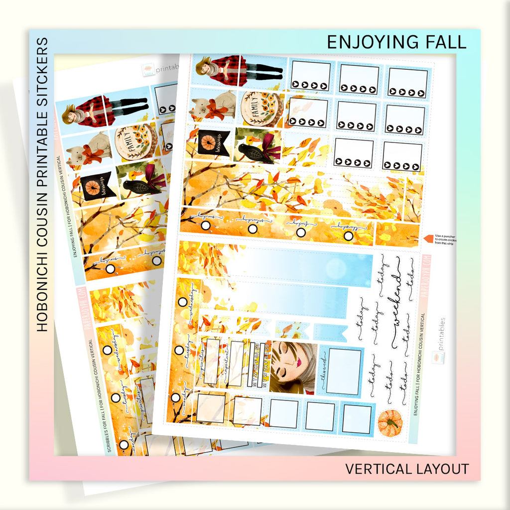 HOBONICHI COUSIN PRINTABLES | VERTICAL STICKER KIT | ENJOYING FALL