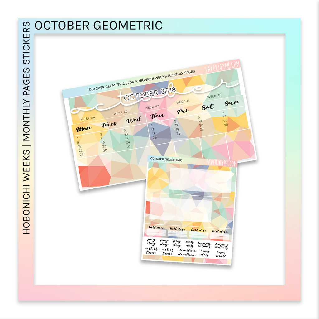 HOBONICHI WEEKS | MONTHLY PAGES | October Geometric