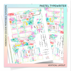 HOBONICHI COUSIN PRINTABLES | VERTICAL STICKER KIT | PASTEL TYPEWRITER