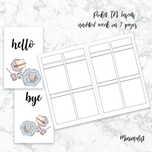 FREE PRINTABLES | INSERTS for POCKET TN | Week on 2 pages | Minimalist