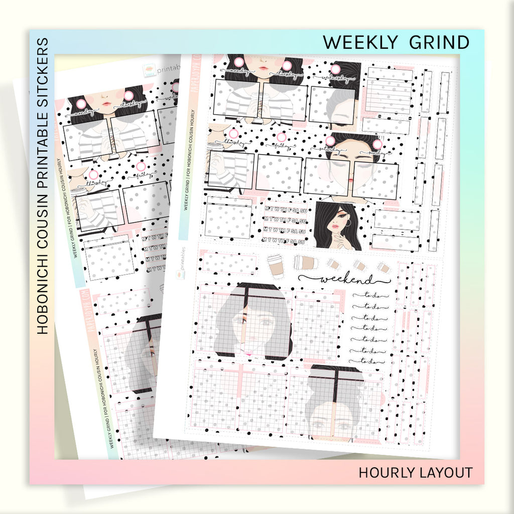 PRINTABLES | HOBONICHI COUSIN  | HOURLY STICKER KIT | WEEKLY GRIND
