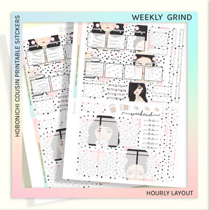 HOBONICHI COUSIN PRINTABLES | HOURLY STICKER KIT | WEEKLY GRIND