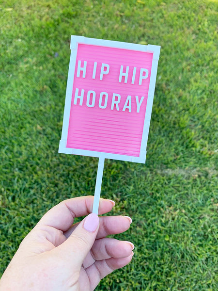 HIP HIP HOORAY LETTER BOARD CAKE TOPPER | PINK