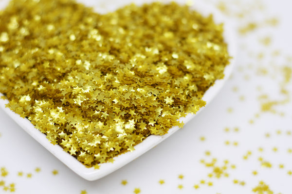 Gold Metallic Glitter Stars