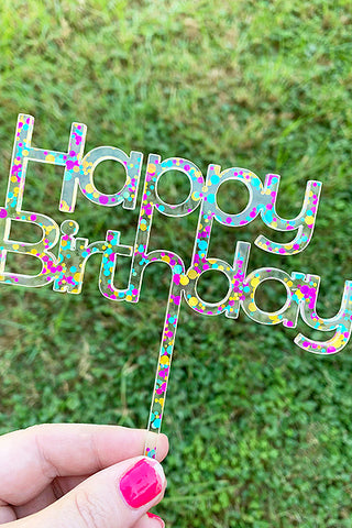 HAPPY BIRTHDAY CAKE TOPPER | RAINBOW GLITTER