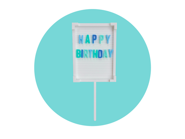 HAPPY BIRTHDAY LETTER BOARD CAKE TOPPER | BLUE OMBRE