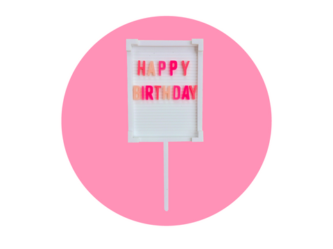 HAPPY BIRTHDAY LETTER BOARD CAKE TOPPER | PINK OMBRE