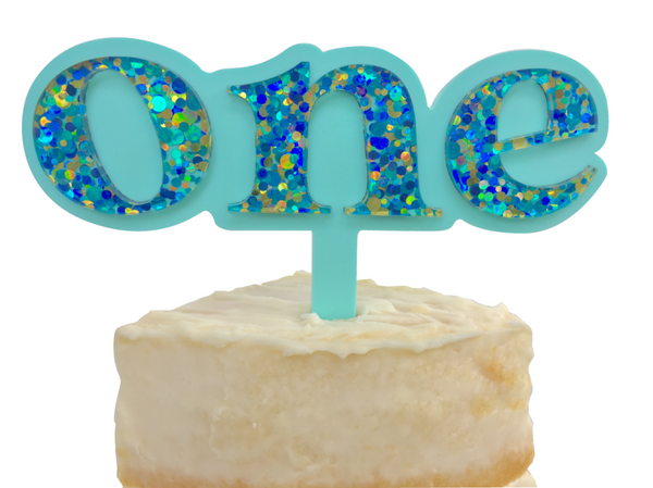ONE IS FUN CAKE TOPPER | MINT + BLUE CONFETTI