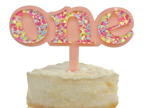 ONE IS FUN CAKE TOPPER | PEACH + ZING CONFETTI