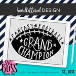 Fantasy Football Grand Champion | SVG EPS DXF PNG - SVG Bliss