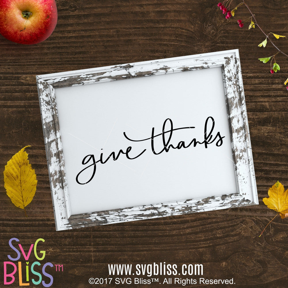Give Thanks- SVG EPS DXF - SVG Bliss