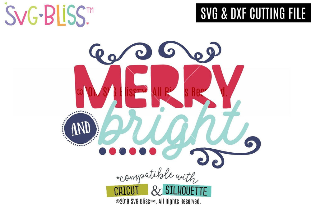 Merry & Bright SVG DXF