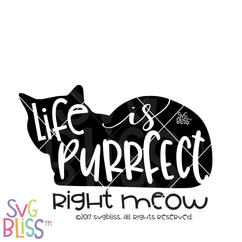 Life is Purrfect Right Meow SVG DXF