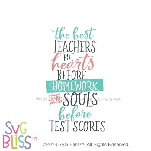 The Best Teachers Put Hearts Before Homework SVG DXF JPG - SVG Bliss