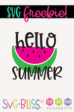 Hello Summer FREE SVG Cut File. Available to download only from SVGBliss.com