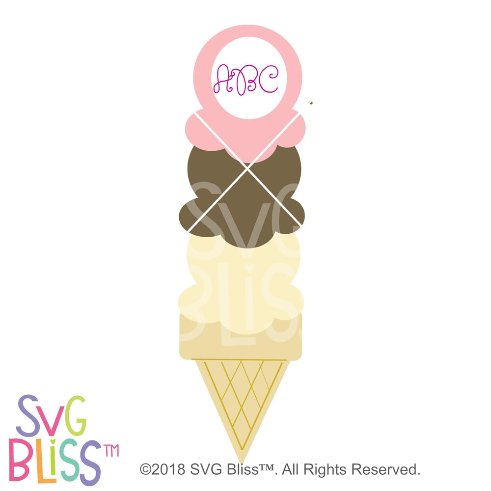 Icecream Cone Monogram Frame SVG DXF
