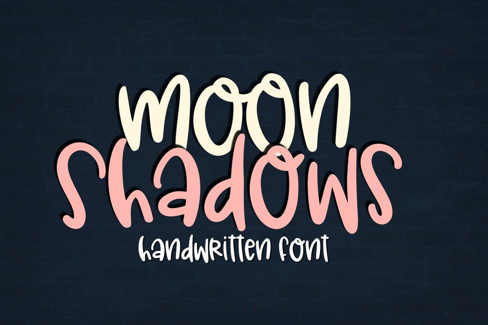 Moon Shadows Handwritten Font Digital Download. Sabrina Schleiger Design,LLC. Available at www.svgbliss.com