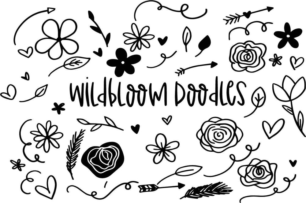 Wildbloom Doodles are included with the Wildblooms handwritten font. Available in Ai, EPS and OTF formats.