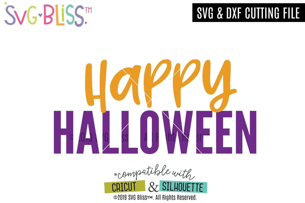 FREEBIE: Happy Halloween SVG DXF Cutting File for Cricut & Silhouette. Download from SVG Bliss.