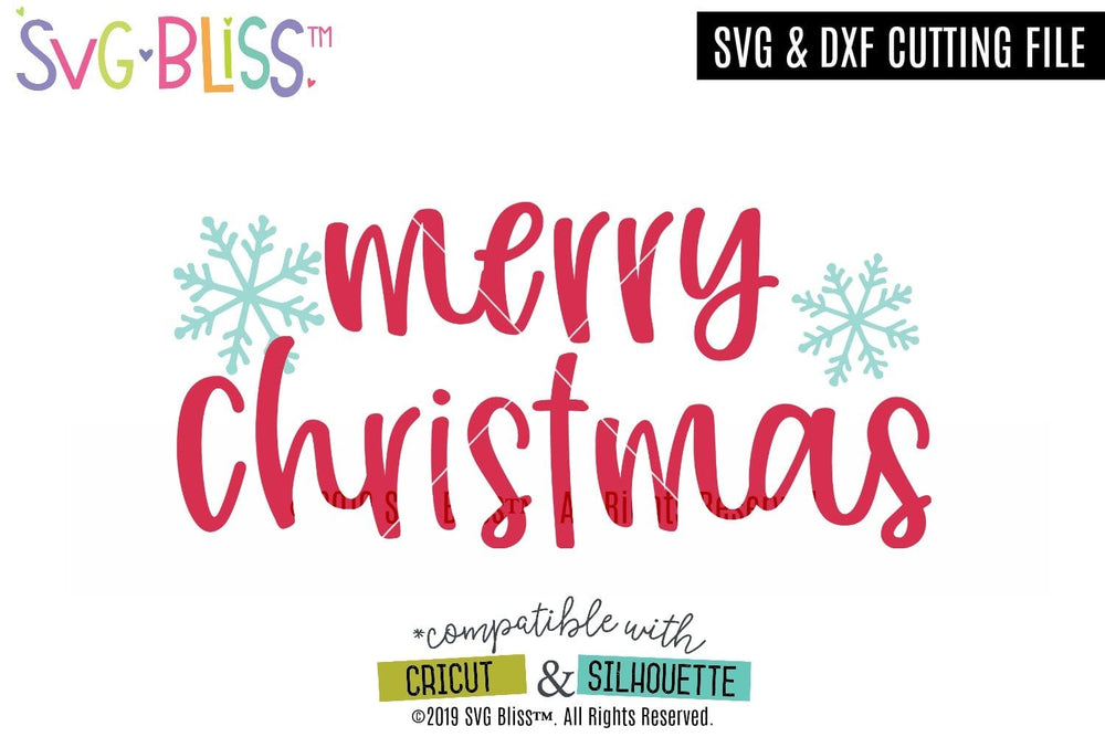 Merry Christmas SVG DXF Cut File FREEBIE. Download from SVG Bliss