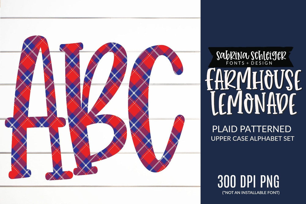 Farmhouse Lemonade Plaid Alphabet for Sublimation