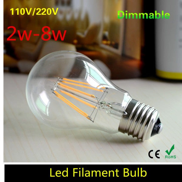 1pcs 2W 4W 6W 8W E27 Led Filament Bulb 220v 110v Dimmable Edison Retro Bubble Lampada Led E27 Candle Light Lamp Indoor Lighting