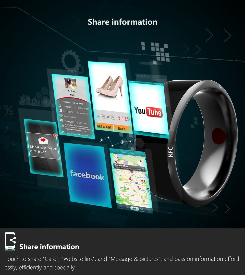 New Smart NFC Ring For Android Windows Mobile Phone